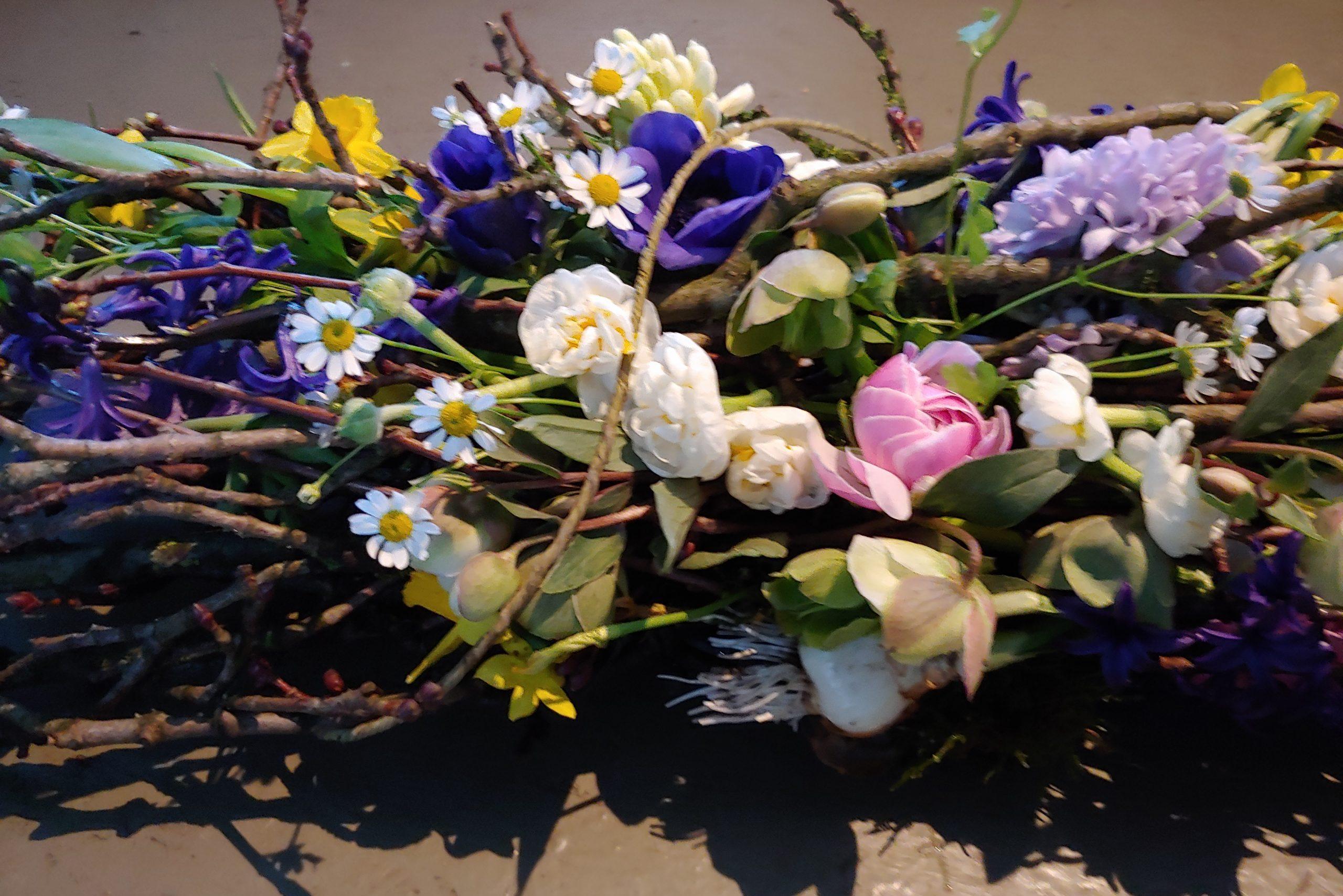Rouwbloemen uit eigen tuin